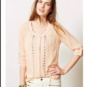 Anthropologie Meadow Rue peach chiffon blouse